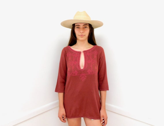 Temple Blouse // vintage boho hippie 70s embroidered dress hippy cotton // S Small