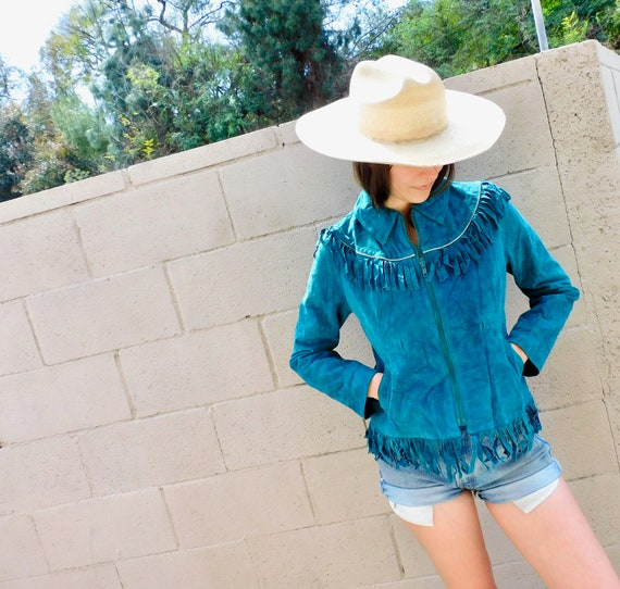 Tucson Jacket // vintage 70s 80s brown suede boho country western hippie dress fringe coat // S Small