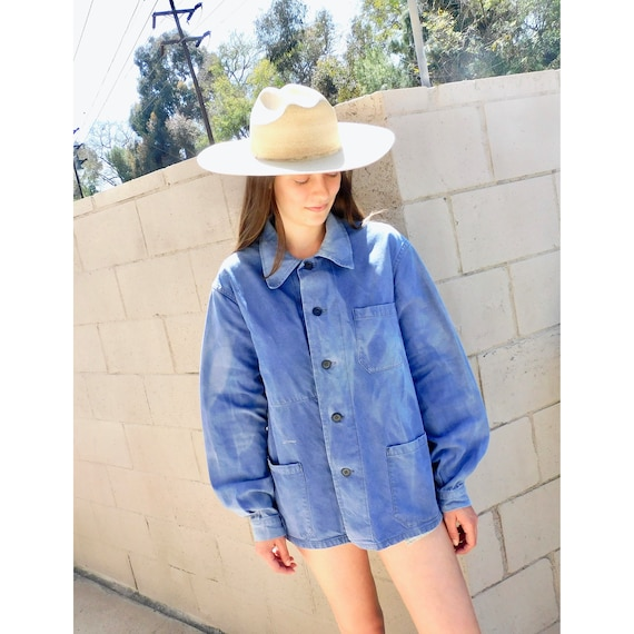 French Chore Coat // vintage 70s indigo faded hippy jean jacket boho hippie blouse shirt dress 1970s denim work painters // O/S