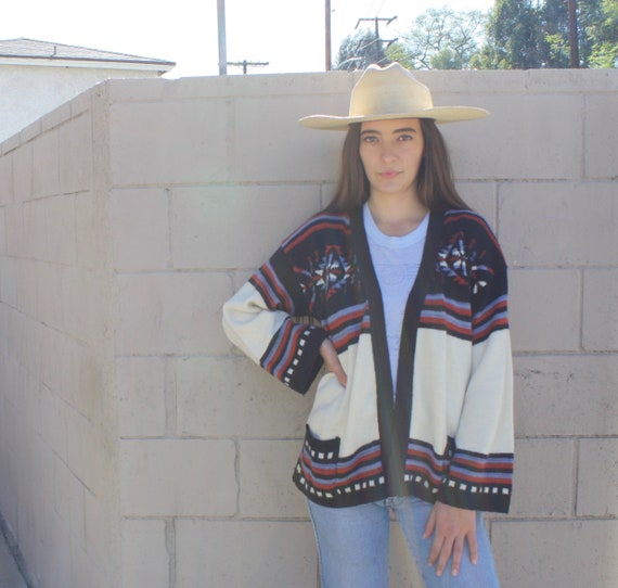 Yucca Valley Cardigan Sweater // vintage 70s knit hippie dress blouse shirt hippy 1970s tunic space dye // O/S