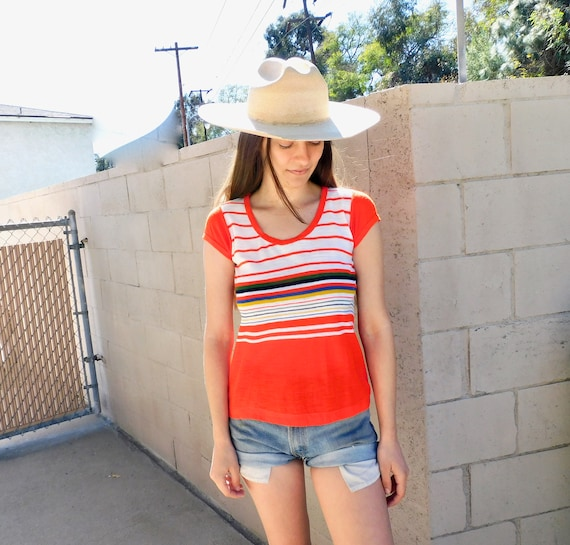 Freaks & Geeks Top // vintage 70s shirt red striped rainbow French tee boho dress t-shirt t white 1970s // S Small