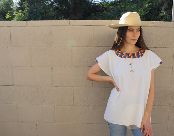 Huipil Blouse // vintage boho 70s 1970s Oaxacan hand embroidered cotton dress hippie hippy white tunic Mexican // O/S
