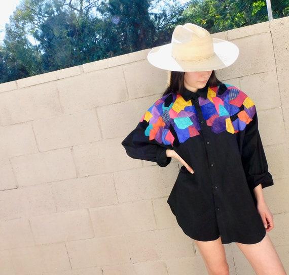 Patchwork Suede Blouse // vintage 80s color block leather black oversize mini boho hippie top dress hippy // O/S