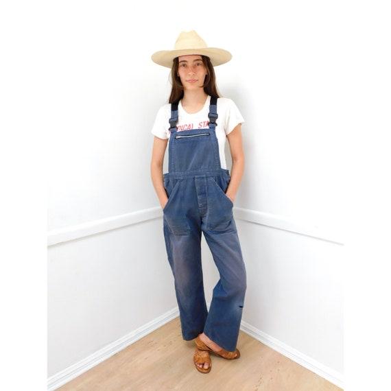 Dusty Chore Overalls // vintage 70s denim boho hippie jeans pants dress work wear jumpsuit workwear // O/S