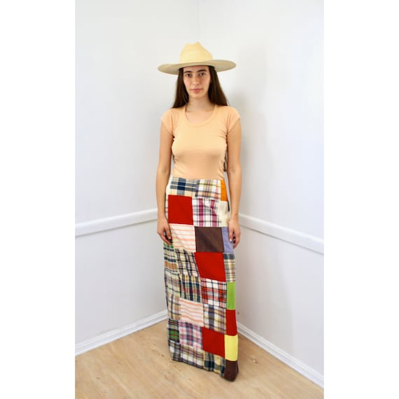 Madras Maxi Skirt // vintage 70s cotton dress boho hippie hippy plaid high waist color blocked 1970s quilted // S/M