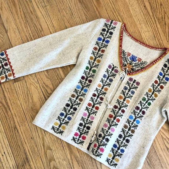 Folk Hand Embroidered Jacket // vintage blouse 70s dress boho hippie Eastern European blazer cardigan // O/S