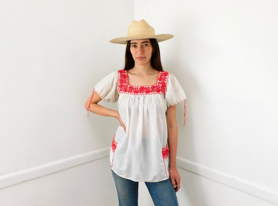 Ana Blouse // vintage 70s 1970s cotton boho hippie Mexican embroidered dress hippy red white // O/S