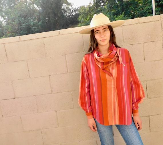 Liz Claiborne Blouse // vintage 70s 80s dress boho hippie pink cowl turtle neck shirt striped // O/S