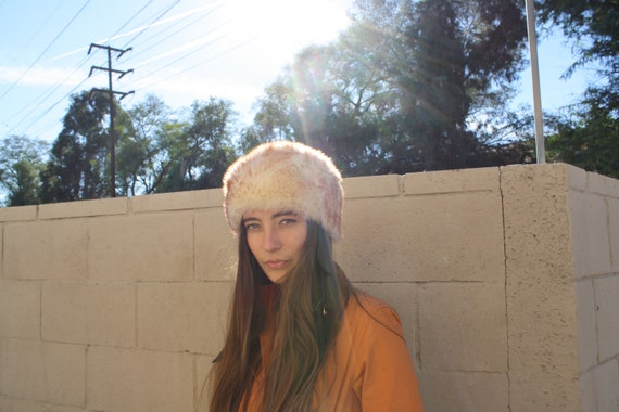 Italian Bonnet // vintage 60s 70s boho hippie hipster hat dress beige white folk winter fur sheep