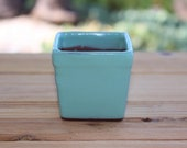 Ceramic Plant Container Vintage green square 2 1 2 inch