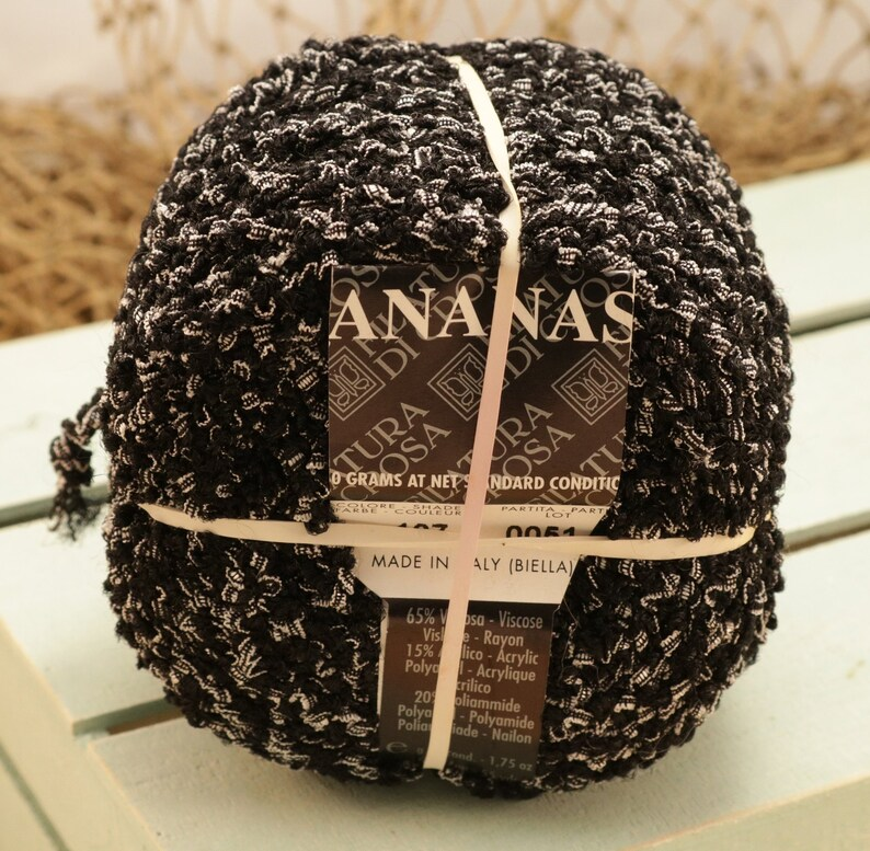 Black 107-100 gram Double Skein Filatura Di Crosa Ananas New