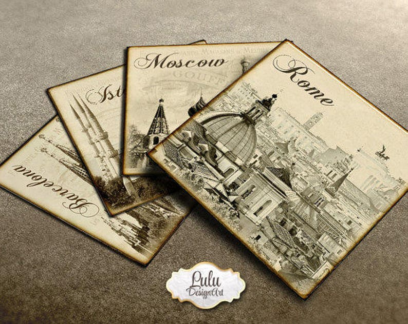 Square Image printables 4 Inch Rome Digital Paper Barcelona London Moscow Vintage Tags New York Cities Coasters and Squares