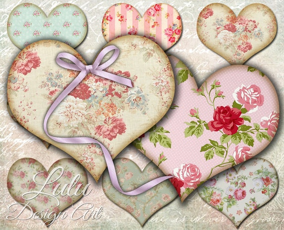 shabby chic hearts digital collage sheet tags heart etsy rh etsy com shabby chic hearts uk shabby chic hearts wholesale
