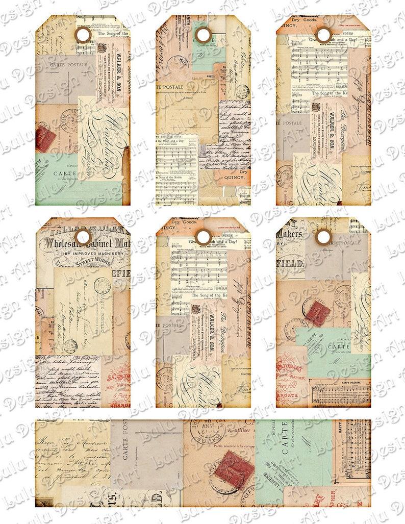 Vintage Embellishment Cardmaking Printable Tags Gift Tags Vintage Ephemera Digital Tags Decoupage Paper Vintage Images Hanging Tags