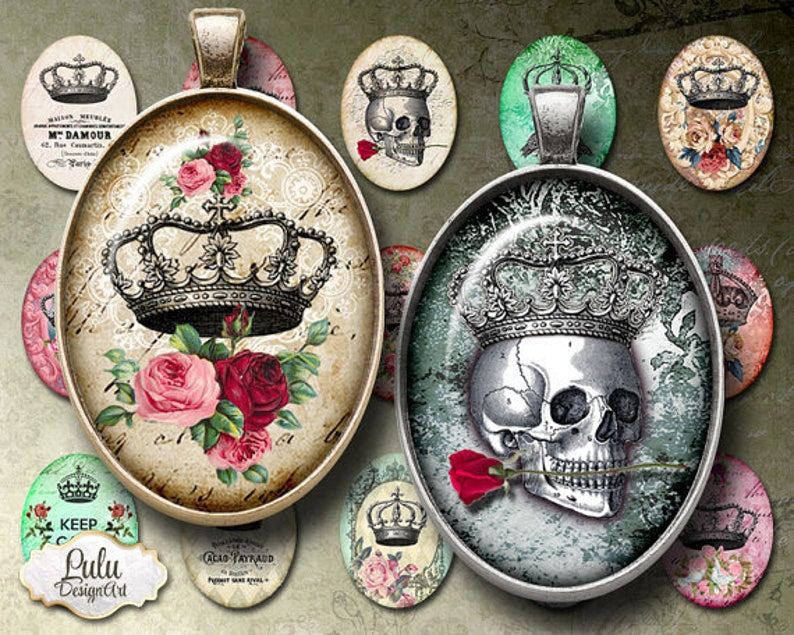 keychains printable download Images for bezel trays glass and resin pendants cabochon settings Crowns Printable Images 30 x 40 mm