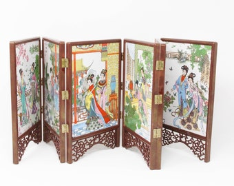 602d0d24f28d4 Japanese Tabletop Screen with Six Hand Painted Ceramic Tiles in Wood Frame.  Asian Decor Folding Art.