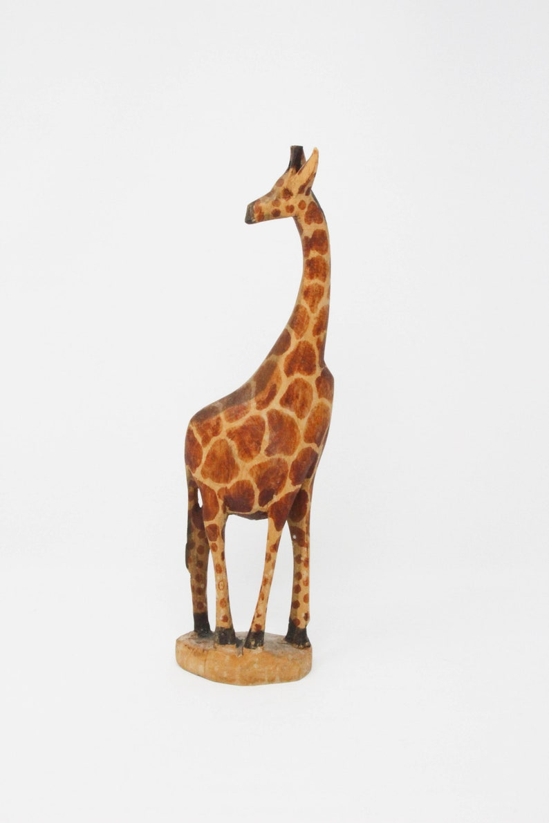 Art Vintage Hand Carving Painted Wood Giraffe Statuette