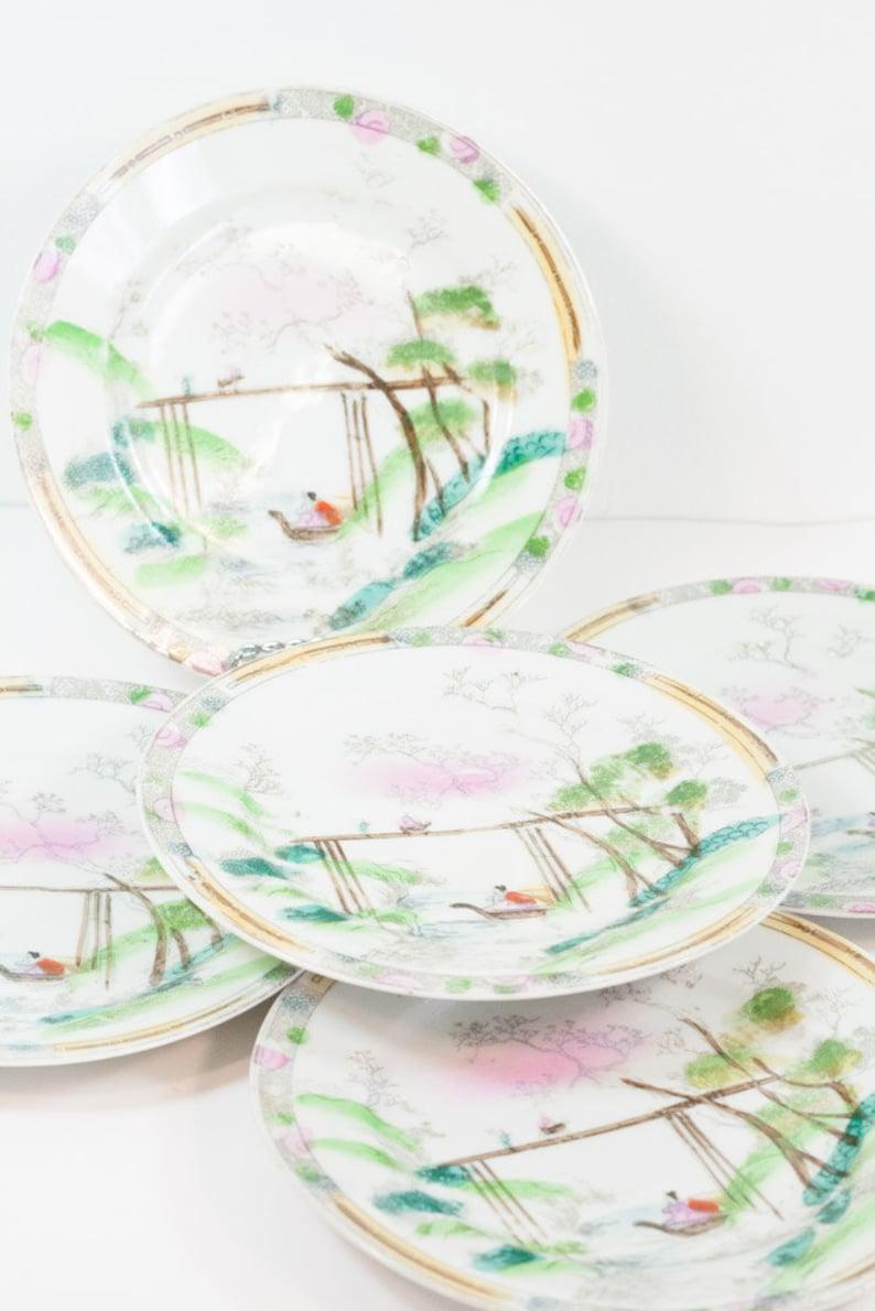 Hand painted Landscape with Boat. Japanese Dessert Salad Plates Set of Five
