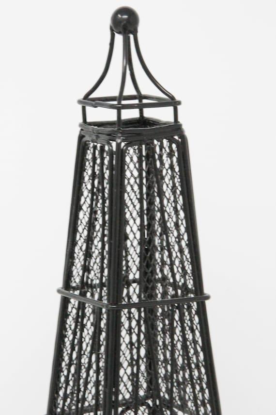 Black Metal Eiffel Tower Tea Light Candle Holder French Decor