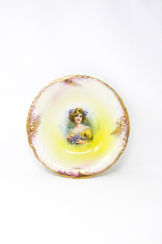 Antique Decorative Bowl from France. Large Vintage