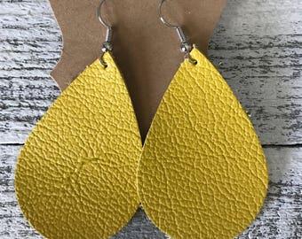 Yellow leather teardrop earrings  Genuine leather earrings   yellow leather   lightweight leather earrings