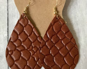 Tobacco Brown Reptile Leather Teardrop Earrings   light weoght leather earrings   gifts for her