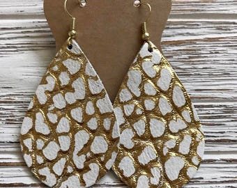 Gold and white alligator embossed leather earrings   Lightweight leather earrings   high quality   nickel free   gifts for her