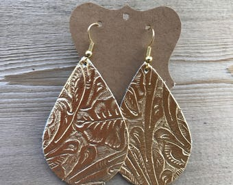 Bright, shiny gold floral embossed leather teardrop earrings | gifts for her | lightweight leather earrings