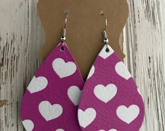 Fuchsia/Mauve leather earrings with white hearts   Valentine's Day gifts   gifts for her   nickle free
