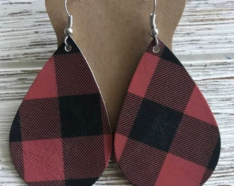 Red and Black Buffalo Plaid Leather Earrings. Gifts for her. Christmas gifts. Christmas earrings