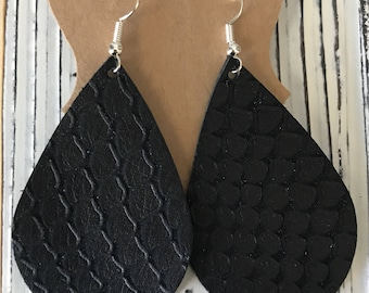 Black matte snake embossed leather earrings | lightweight leather