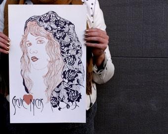 Screen Printed Stevie Nicks Poster
