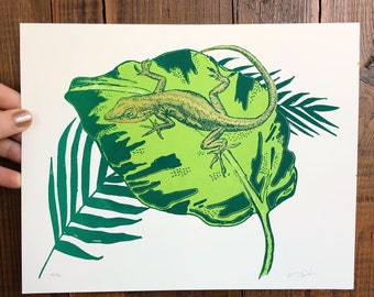 Green Anole silk screen