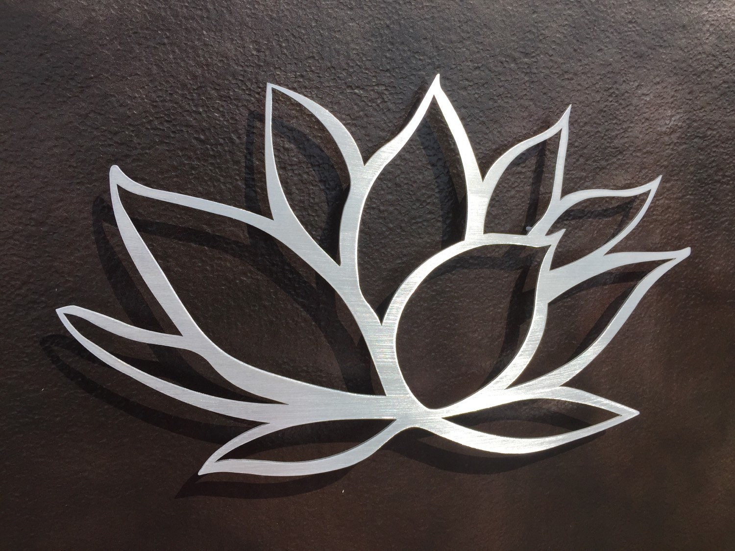 Brushed Lotus Flower Metal Wall Art Lotus Metal Art Home Etsy