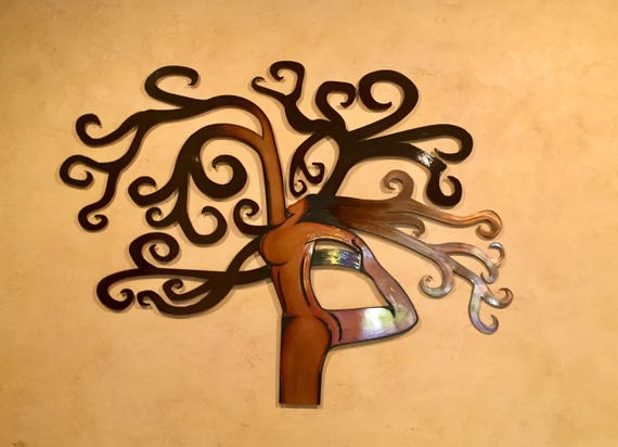 Tree Yoga Metal Wall Art Large Metal Wall Decor Tree Art | Etsy