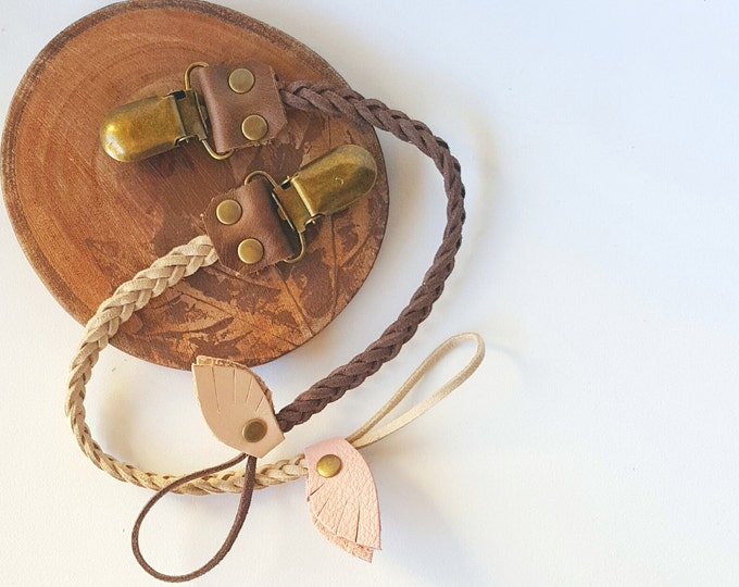 Braided Leather Pacifier Clip, Natural