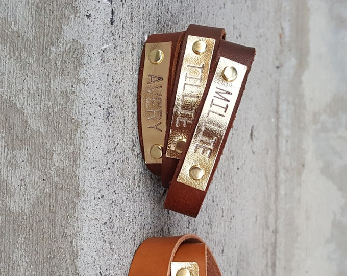 Natural Leather Wrap Around Bracelet, Personalized Gold Plate, Veg Tanned, Neutral color bracelet