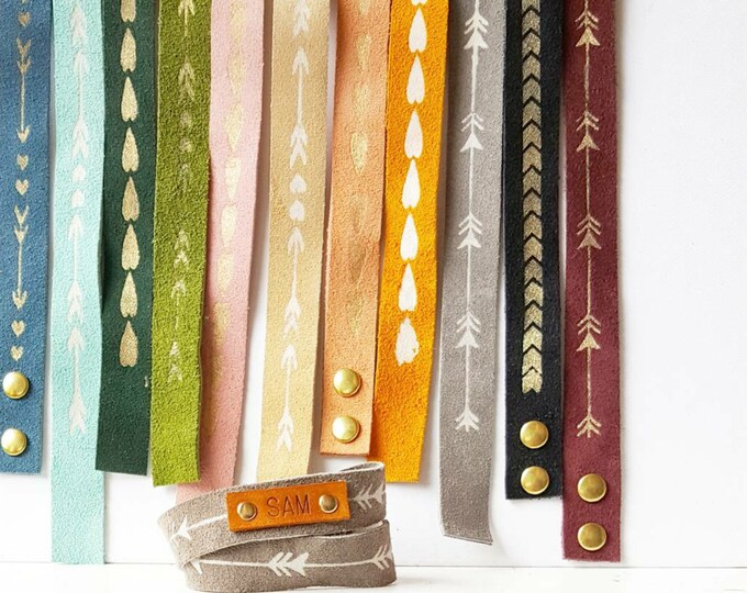 Suede Wrap Around bracelets, Personalized with name or wording, leather suede pattern print Cage and Lantern design