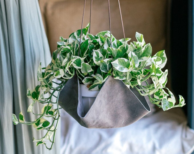 Gray Leather plant hanger, plant hanging, plant holders, leather decor