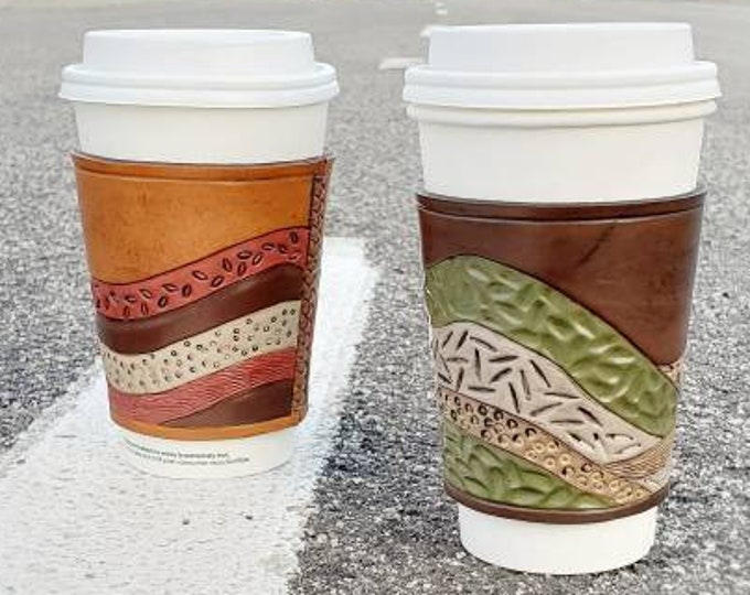 "Leather mug sleeve. ""Mountain Scape"" To go cup sleeve"
