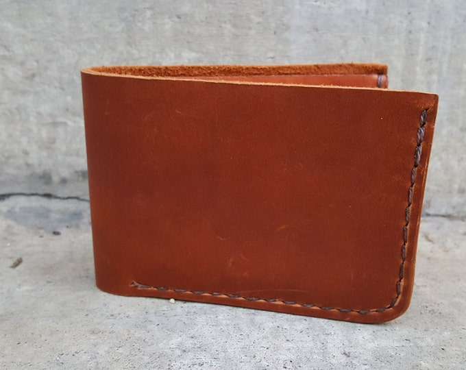 Handmade Basic profile BiFold Wallet, Oil Tan , Hand Stitched Wallet, ready to ship