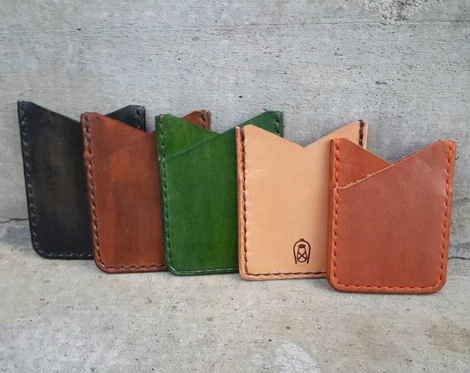 Handmade Minimalist Slim card sleeve wallet, VegTan, Hand Stitched Wallet, Style CLS2