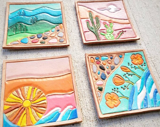 California Scapes.  Leather coaster set.  California scenery, landscape.