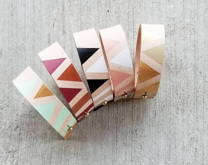 Natural Color block Cuff bracelet, personalized, Veg tan, minimalist