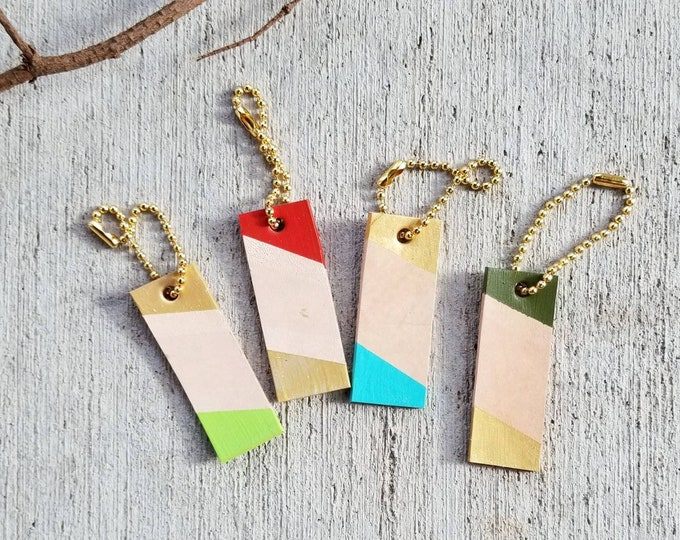 Jolly Mini Leather tag, color block, keychain, charm, tag, personalized, gift tag