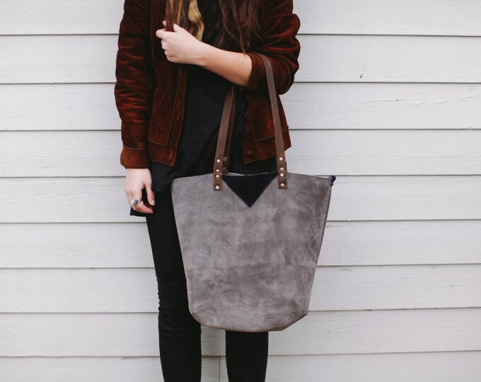 "Leather Carryall Shopper Tote Bag, "" Around the Town"" Gray Suede"