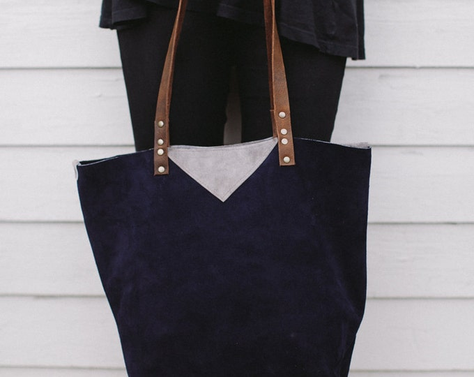 "Leather Carryall Shopper Tote Bag, "" Around the Town"" Navy Blue Suede"