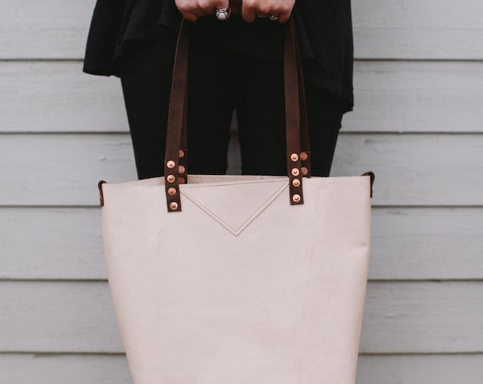 "Leather Carryall Shopper Tote Bag,"" Around the Town""  Natural Veg Tan, handstitched"
