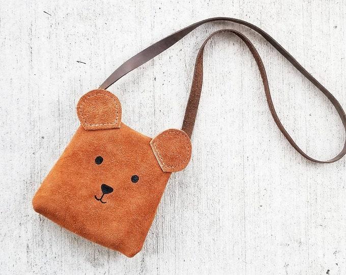 "Mini Messenger toddler purse bag, ""ANIMAL PACK - BEAR"" mini purse, messenger, toddler purse, toddler bag"