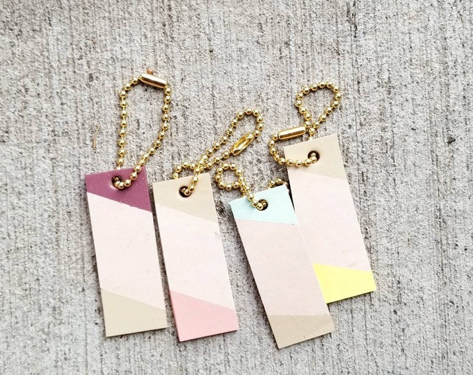 Pastel color Mini Leather tag, color block, keychain, charm, tag, personalized, gift tag